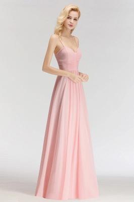 Pink Chiffon Simple Floor-length Sleeveless A-line Spaghetti-Strap Zipper Bridesmaid Dress_4