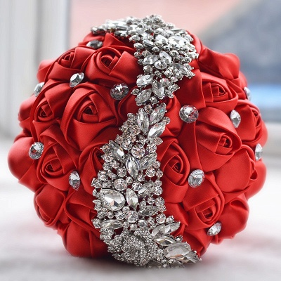 Slik Rose Beading Wedding Bouquet in Multiple Colors_4
