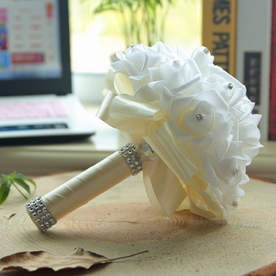White Silk Wedding Bouquet with Colorful Handles_2