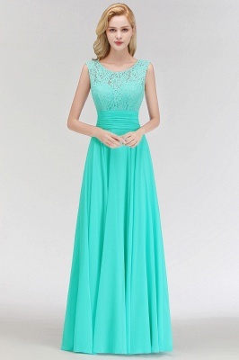A-line Floor Length Lace Top Sleeveless Chiffon Bridesmaid Dress In Stock_8