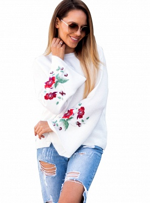 Women Knitted Sweater Floral Embroidery Pullover Jumper Flare Long Sleeve Casual Loose Tops_1