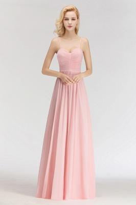 Pink Chiffon Simple Floor-length Sleeveless A-line Spaghetti-Strap Zipper Bridesmaid Dress_1