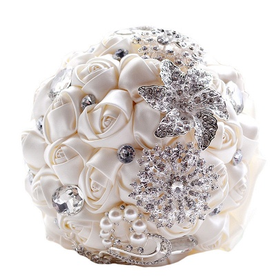 Colorful Silk Rose Crystal Beading Wedding Bouquet_10