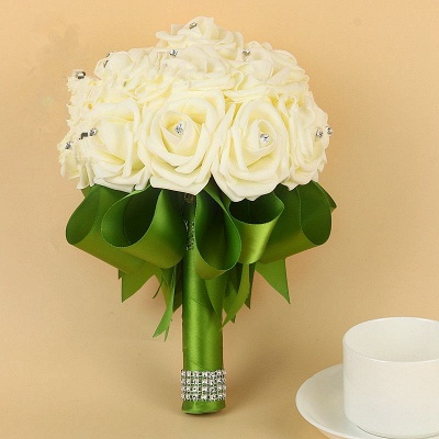Ivory Silk Beading Rose Bouquet with Colorful Ribbons_10