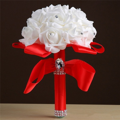 White Silk Rose Crystal Beading Bouquet in Colorful Handles_4
