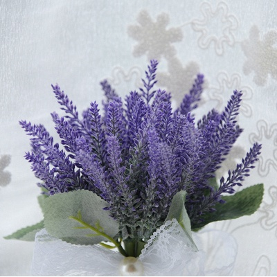 Real Touch Sage Flowers Bouquet with Lace Ribbon_4