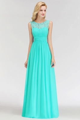 A-line Sleevless Long Lace Appliques Neckline Bridesmaid Dress In Stock_4