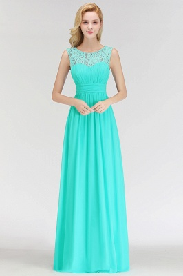 A-line Sleevless Long Lace Appliques Neckline Bridesmaid Dress In Stock_8