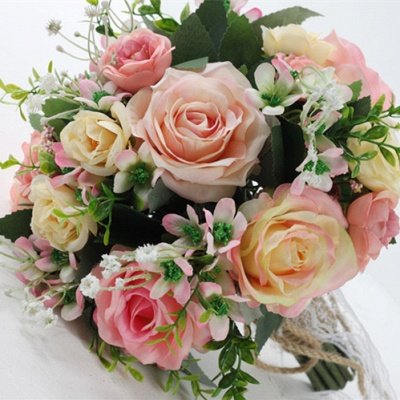 Two colors Artificial Real Touch Rose Bouquet for wedding_4