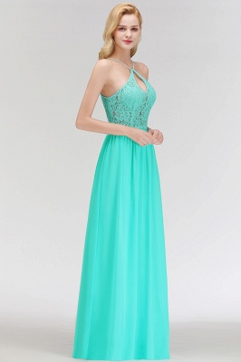 A-line Keyhole Neckline Lace Top Long Spaghetti Bridesmaid Dress In Stock_6