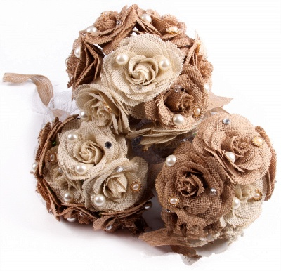 Brown Bouquet for Wedding with ribbon strings_4