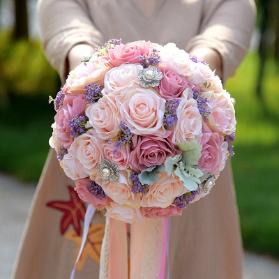 Artificial Silk Rose Wedding Bouquet in Two Tone Pink_3