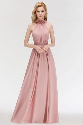 A-line  Halter Sleeveless Ruffled Floor Length Bridesmaid Dresses_1
