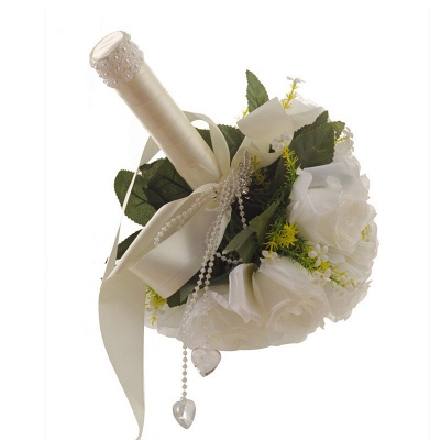 White Rose Artificial Wedding Bouquet with Handle_3