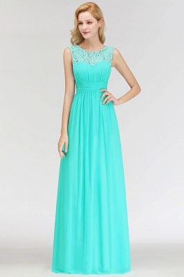 A-line Sleevless Long Lace Appliques Neckline Bridesmaid Dress In Stock_5