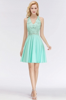 Cheap A-line V-neck Sleeveless Short Appliques Chiffon Homecoming Dress in Stock_9