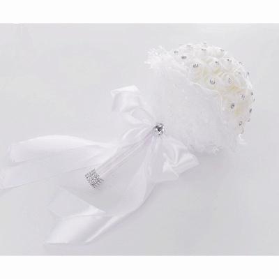 Elegant Pure White Beading Wedding Bouquet with Lace Ribbon_3