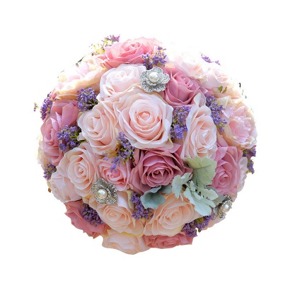 Artificial Silk Rose Wedding Bouquet in Two Tone Pink_5