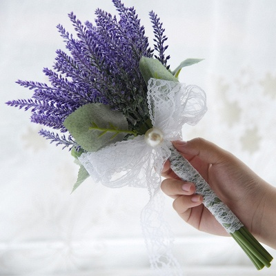 Real Touch Sage Flowers Bouquet with Lace Ribbon_2