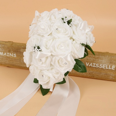 Colorful Silk Rose Wedding Bouquet with Ribbons_1