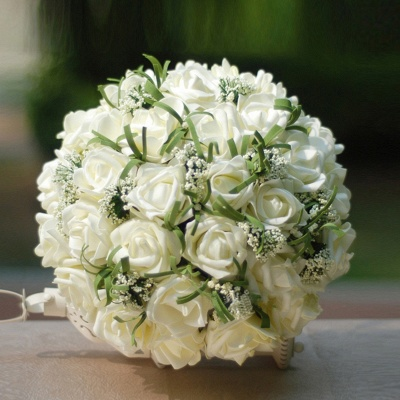 Silk Rose Wedding Bouquet in Ivory with Ribbons_5