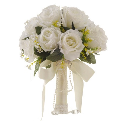 White Rose Artificial Wedding Bouquet with Handle_1