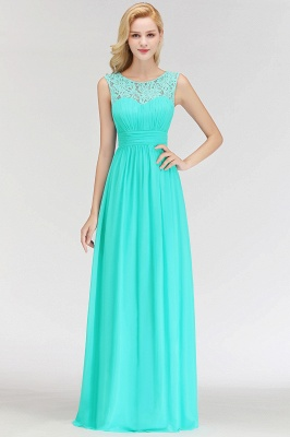 A-line Sleevless Long Lace Appliques Neckline Bridesmaid Dress In Stock_6