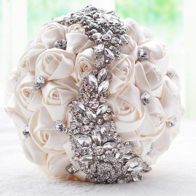 Slik Rose Beading Wedding Bouquet in Multiple Colors_1