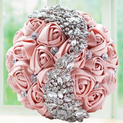 Slik Rose Beading Wedding Bouquet in Multiple Colors_3