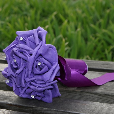 Simple Silk Rose wedding Bouquet in Multiple Colors_9