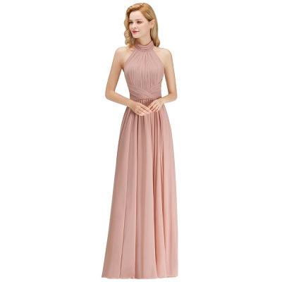 A-line Floor Length Halter Ruffled Chiffon Bridesmaid Dresses_1