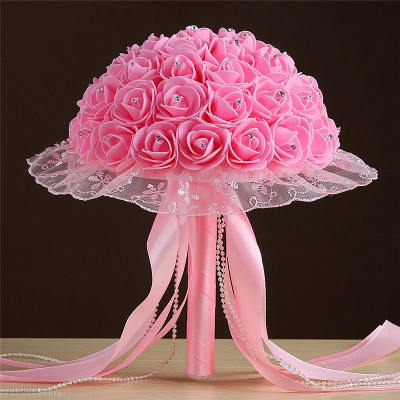 Grand Silky Rose Bouquet for Wedding in Multiple Colors_2