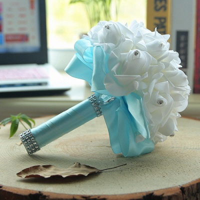 White Silk Wedding Bouquet with Colorful Handles_9
