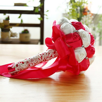 Two Colors Silky Rose Bouquet for wedding_3