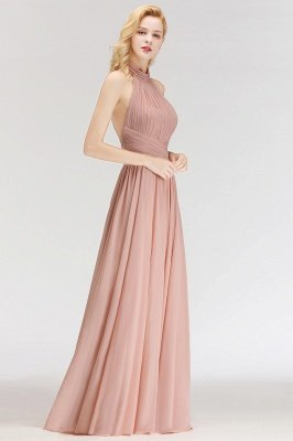 Halter A-line Chiffon Floor-length Backless Sleeveless Fashion Bridesmaid Dress_5