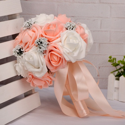Two Colors Silk Flowers Wedding Bouquet with Ribbon_6