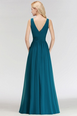 NORA | Cheap A-line V-neck Sleeveless Long Ruffles Chiffon Bridesmaid Dresses_3