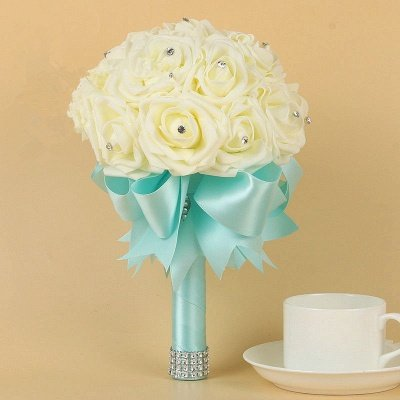 Ivory Silk Beading Rose Bouquet with Colorful Ribbons_8