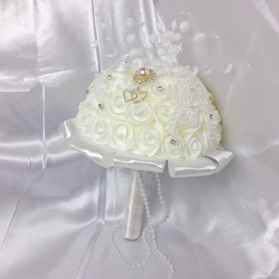 Ivory Silk Rose Bouquet for Wedding with Crystals_2