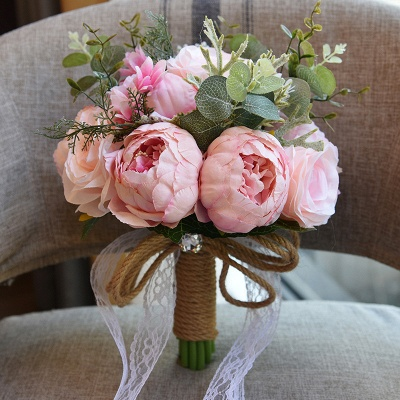 Real Touch Colorful  Artifial Roses Wedding Bouquet_3
