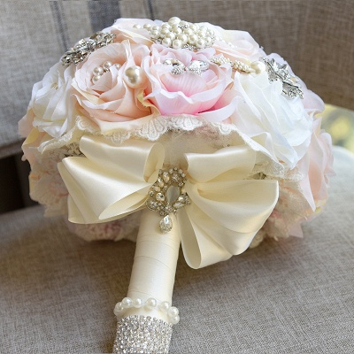 Shiny Crystal Beading Silk Rose Wedding Bouquet in White and Pink_5
