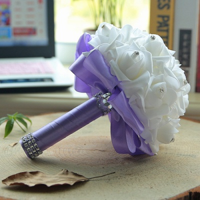 White Silk Wedding Bouquet with Colorful Handles_8