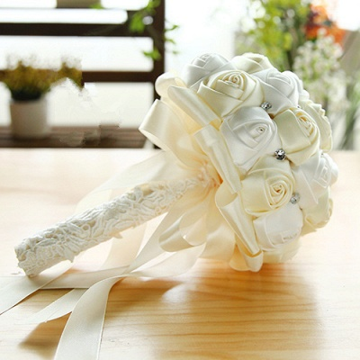 Two Colors Silky Rose Bouquet for wedding_1
