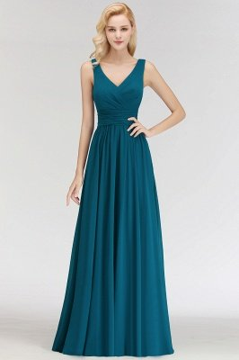 NORA | Cheap A-line V-neck Sleeveless Long Ruffles Chiffon Bridesmaid Dresses