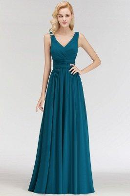 NORA | Cheap A-line V-neck Sleeveless Long Ruffles Chiffon Bridesmaid Dresses