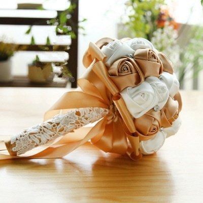 Two Colors Silky Rose Bouquet for wedding_5