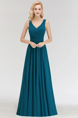 NORA | Cheap A-line V-neck Sleeveless Long Ruffles Chiffon Bridesmaid Dresses_4