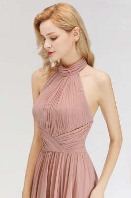 Halter A-line Chiffon Floor-length Backless Sleeveless Fashion Bridesmaid Dress_6