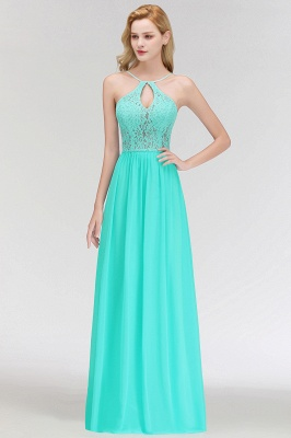 A-line Keyhole Neckline Lace Top Long Spaghetti Bridesmaid Dress In Stock_9