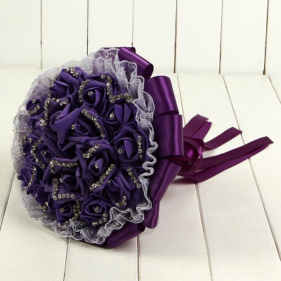 Glitter Crystal Beading Wedding Bouquets with Lace_7